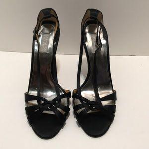 Badgley Mischka Black Satin Strappy Sandals